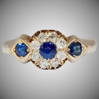 Sapphire And Diamond Cluster Ring 18 Carat Gold Dated 1919