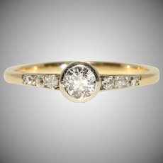 Antique European Old Cut Diamond Solitaire Engagement Ring Circa 1890