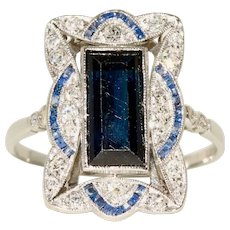 Edwardian Diamond and Natural Sapphire Platinum Ring Circa 1910
