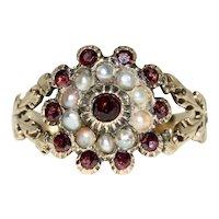 Antique Georgian Garnet And Natural Split Pearl Ring 12 Karat Gold Circa 1820