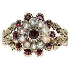 Antique Georgian Garnet And Natural Split Pearl Ring 12 Carat Gold Circa 1820