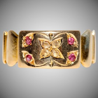 Antique Victorian Ruby And Diamond 15 Carat Gold Gypsy Wedding Band Ring Dated 1899