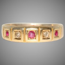 Antique Edwardian Ruby And Diamond Gypsy Wedding Band Ring Dated 1904