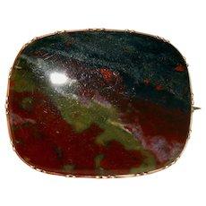 Antique Georgian Scottish Bloodstone Brooch Pin 9 Karat Gold Circa 1820