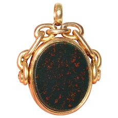 Antique Victorian Bloodstone And Carnelian Seal Fob Dated Birmingham 1882 18 Carat Gold