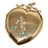 Large Edwardian Turquoise and Pearl Swallow Heart Locket Circa 1900