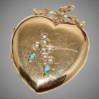 Antique Edwardian Turquoise and Pearl Swallow Heart Locket Circa 1900 9 Carat Gold Back And Front