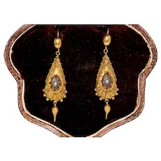 Antique Victorian Starburst Enamel And Natural Pearl Dangle Earrings Circa 1870 15 Carat Gold