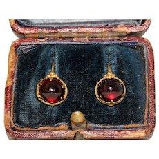 Superb Antique Georgian Cabochon Garnet Earrings Circa 1800 15 Carat Gold
