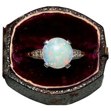 Vintage Art Deco Opal And Diamond Engagement Ring Circa 1920, 9 Carat And Platinum