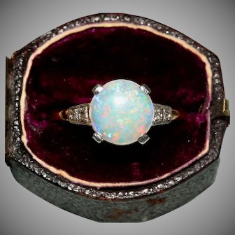 Vintage Art Deco Opal And Diamond Engagement Ring Circa 1920, 9 Carat And Platinum