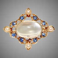 Antique Edwardian Moonstone, Sapphire and Split Pearl Pendant/Brooch/Pin Circa 1900 18 Carat Gold