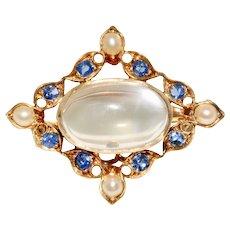 Antique Edwardian Moonstone, Sapphire and Split Pearl Pendant/Brooch/Pin Circa 1900 18 Carat Gold