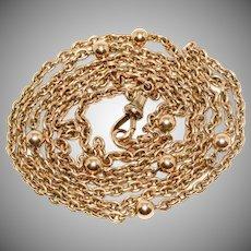 Antique Victorian Ball Chain Necklace Circa 1880 9 Carat Gold