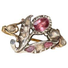 Antique Georgian Giardinetti Ruby And Diamond Ring Circa 1760