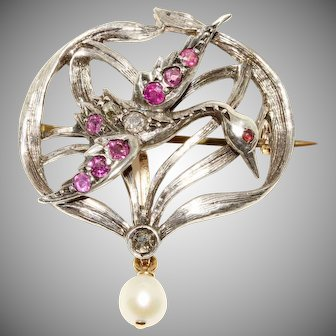 Antique Art Nouveau French Ruby Diamond And Pearl Stork Brooch Pendant/Brooch pin Circa 1890