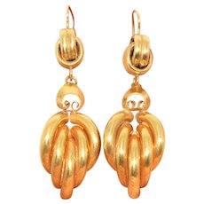 Stunning Large Antique Victorian Drop Earrings Circa 1880 9 Carat Gold