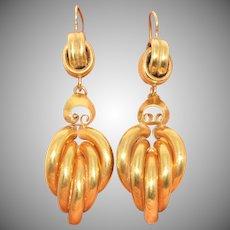 Stunning Large Antique Victorian Drop Earrings Circa 1880 9 Carat Gold