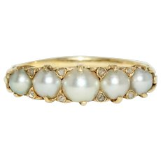 Antique Victorian Diamond And Natural Split Pearl Half Hoop Stacking Ring 15 Carat Gold Circa 1870