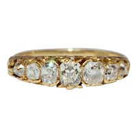 Stunning Antique 7 Stone Diamond Half Hoop Stacking Ring Circa 1870