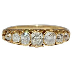 Stunning Antique Victorian 7 Stone Old Cut Diamond Half Hoop Stacking Ring 18 Carat Gold Circa 1870
