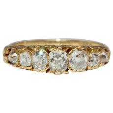 Stunning Antique Victorian 7 Stone Old Cut Diamond Half Hoop Stacking Ring 18 Carat Gold Circa 1870