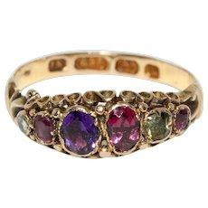 Antique Victorian Acrostic Regard Ring Dated 1866 15 carat Gold