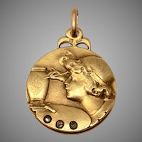"Unusual Antique Art Nouveau ""Girl Painting a Vase"" Pendant 18 Carat Gold with Diamonds Circa 1890-1915"