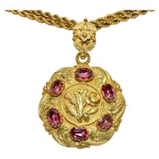 Antique Fine Georgian Regency Flower Pendant/Brooch/Pin  Circa 1810-1820, 15 Carat Gold