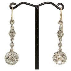 Antique Georgian Old Cut Diamonds Dangle Earrings Circa 1800