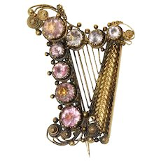 Antique Georgian Regency Natural Pink Topaz Harp Brooch Pin Circa 1810 18 Carat Gold