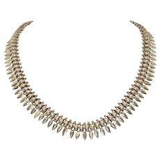 Antique Victorian Double Sided Silver Collar Necklace Circa 1880