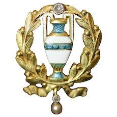 Art Nouveau French Enamel Chain Slide Signed Henri Dubret Circa 1900.
