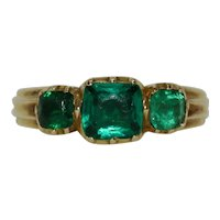 Antique Georgian Green Paste Trilogy Half Hoop Ring Circa 1810-1820