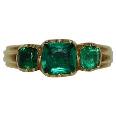 Antique Georgian Green Paste Trilogy Half Hoop Ring Circa 1810-1820 9 Carat Gold