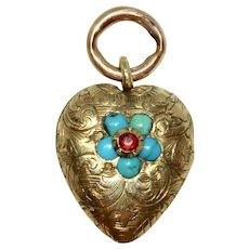 Antique Victorian Turquoise Forget-Me-Not Heart Charm Circa 1860, 9 Carat Gold