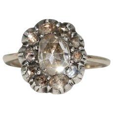 Antique Victorian Rose Cut Diamond Cluster Ring Circa 1870-1880