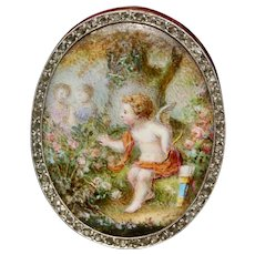 "Antique Victorian Porcelain Miniature And Diamond ""Cupid In The Rose Garden"" Clip Pin Brooch Circa 1880"