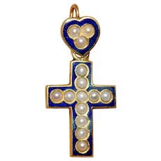Antique Victorian Natural Split Pearl And Enamel Cross Circa 1880 18 Carat Gold