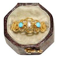 Antique Victorian Turquoise And Diamond Ring Circa 1860