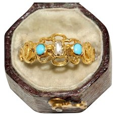 Antique Victorian Turquoise And Diamond Ring Circa 1860