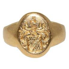Edwardian Signet Crest Ring Circa 1910, 18 Carat Gold