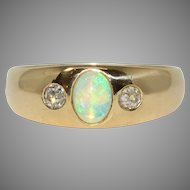 Art Deco Polish Diamond And Opal Gypsy Band Ring Dated 1920-1931