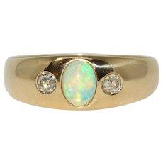 Art Deco Polish Diamond And Opal Gypsy Band Ring Dated 1920-1931