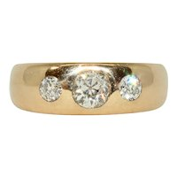 Antique Victorian Diamond Trilogy Gypsy Band Ring Prague Circa 1890