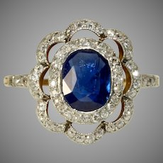 Antique Fine Edwardian Certified Natural No Heat Sapphire And Diamond Ring Circa 1900-1910