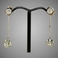 Antique Edwardian Old Mine Cut Diamond Dangle Earrings Circa 1910