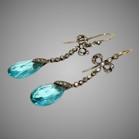 Antique Edwardian Silver And Paste Earrings Circa 1910