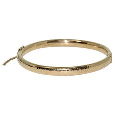 Extra Large Gold Antique Bangle Bracelet Dated 1913