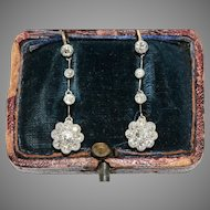 Fine Edwardian Diamond Daisy Cluster Dangle Earrings Circa 1910